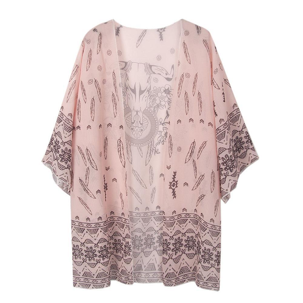 Women Floral Loose Chiffon Kimono Cardigan Printed Shawl ...